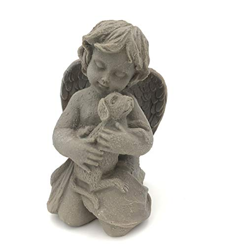(Gemostore Resin 7''Cherub Angel with Dog Home Garden Decoration Statue Figurine )