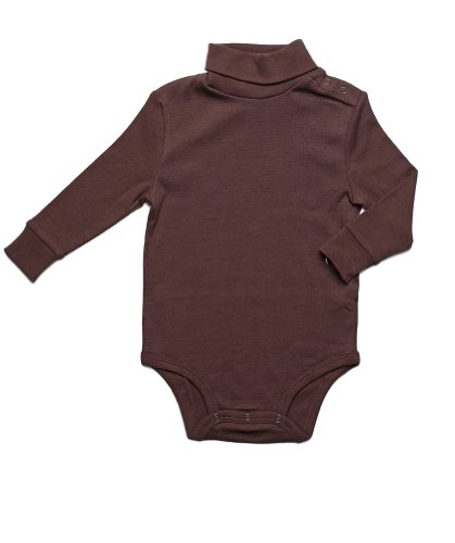Leveret Solid Turtleneck Bodysuit 100% Cotton (2 Years, Brown) -