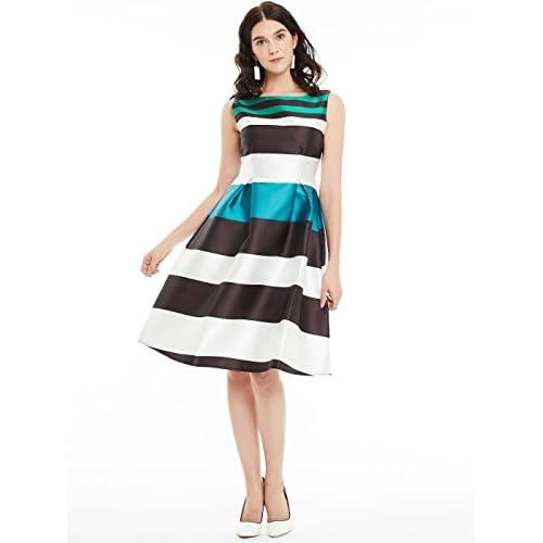 db0b91ae9 CLOCOLOR Vestido corto A-line cóctel para mujer vestido sin mangas bloque  de color de