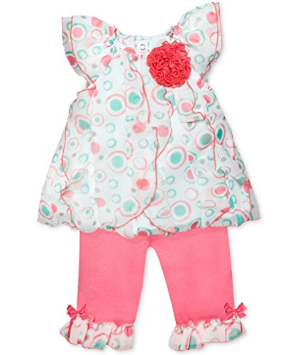 Baby Essentials Baby Girls 2 Piece Circle-Print Top & Capris Set (3 Months) Circles Capri Pants