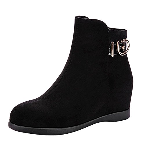 Mee Shoes Damen hidden heels Nubukleder Reißverschluss Stiefel Schwarz