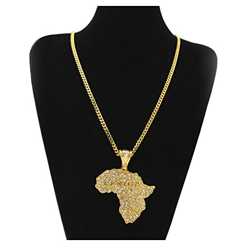 HongBoom Hot Hip Hop Cuban Link Chain 14K Gold Plated CZ CRYSTAL Fully Iced-Out Africa map Necklace (Gold Cuban Chain) by HongBoom