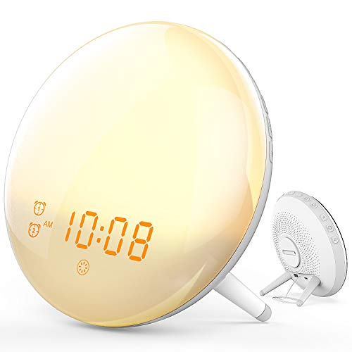 Wake- Up Light, Cshidworld Alarm Clock 7 Colored Sunrise Simulation & Sleep Aid Feature, Snooze Feature for Kids Heavy Sleepers, Dual Digital Clock with 7 Natural Sounds and FM Radio
