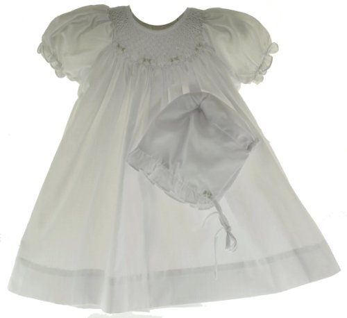 Petit Ami Infant Baby Girls White Smocked Dress & Bonnet Set-3M