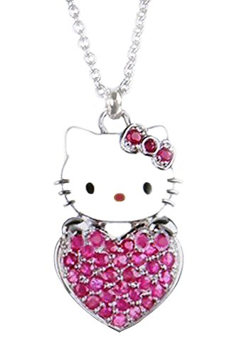 Super Cute Kitty Holding Pink Heart Charm Necklace