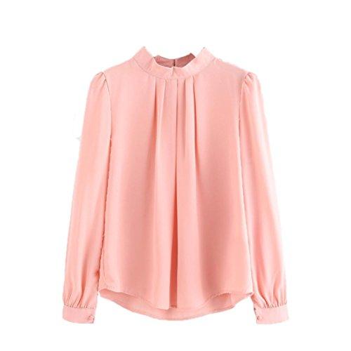 Anxinke Women Long Puff Sleeve Chiffon Shirts Blouse (S, Pink) by Anxinke