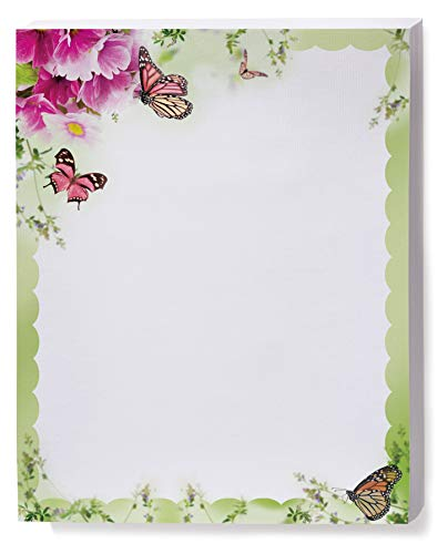 Primrose and Butterflies Border Papers, 8.5 x 11 Inch, 28lb Stock, 100 Count