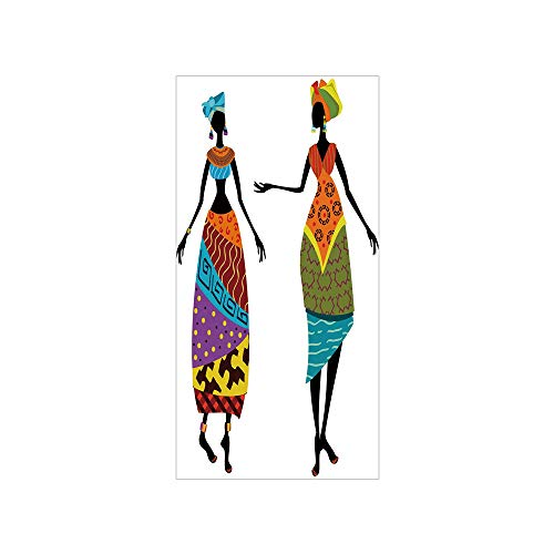 Decorative Privacy Window Film/Tribal Ladies in Traditional Costume