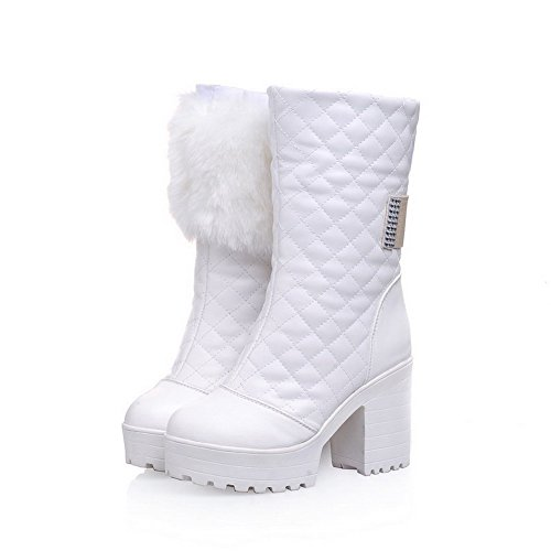 BalaMasa Womens High Heels Mid Top Solid PU Snow Boots White CBu5s