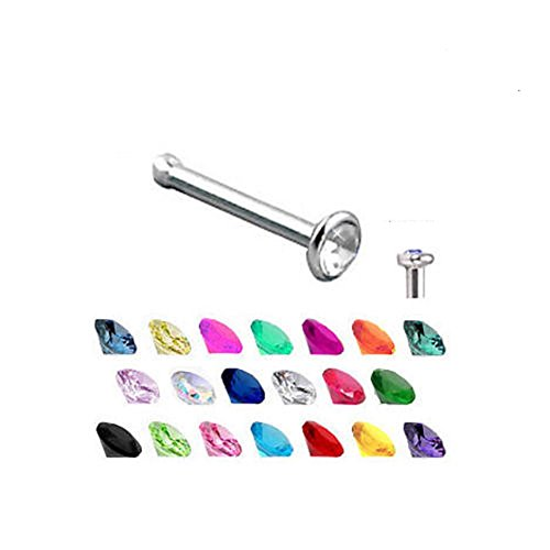 Titanium Nose Bone Stud Ring Pin 2mm Gem 18 Gauge 18G (Hyacinth) (Gem Hyacinth)