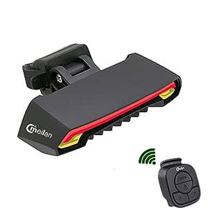 Luz LED trasera para bicicleta con intermitente incorporado, control remoto, 6 modos, resistente al agua y recargable con USB