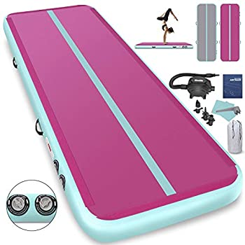 Image of 1INCH Airtrack Tumbling Mat 16ft Pink Air Track Mat 8 inches Inflatable Gymnastics Mat with Electric Air Pump for Training Gymnastics,Cheerleading,Parkour,Martial Arts,Taekwondo Training Mats