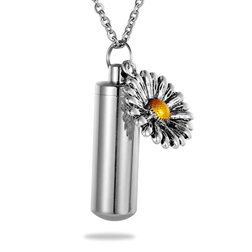 HooAMI Sunflower Charm Memorial Urn Necklace Stainless Steel Cremation (Stainless Steel Sunflower)
