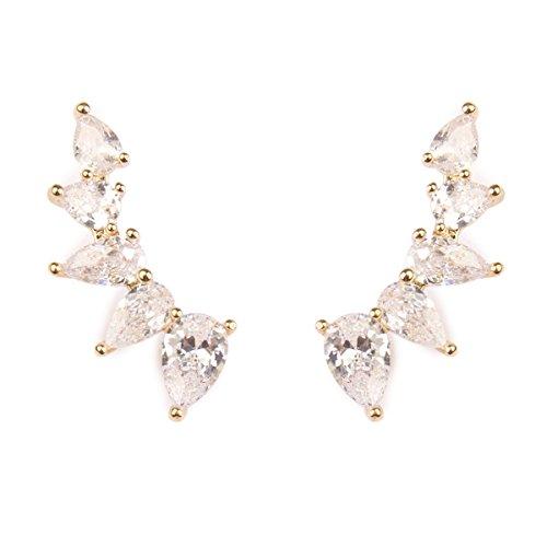 MYS Collection Sparkly Rhinestone Floral Ear Crawlers - Crystal Petal Leaf Climber Earlobe Cuff Earrings Delicate Teardrop Cubic Zirconia