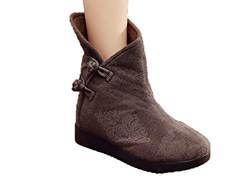 Avacostume Womens Side Frog Plain Colour Jacquard Boots Gray