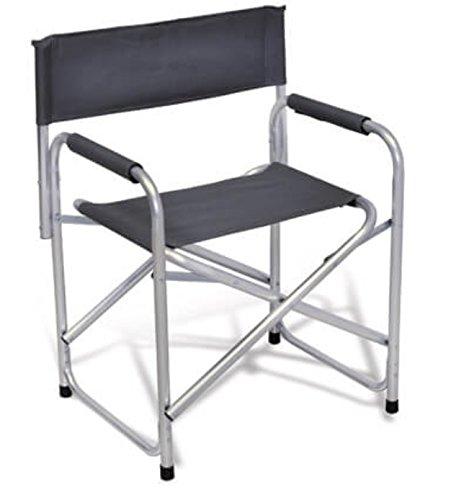 Aluminio y Tela de Textileno Gris//–/Ideal para Camping Beaver Sill/ón Director Plegable Modelo Prima