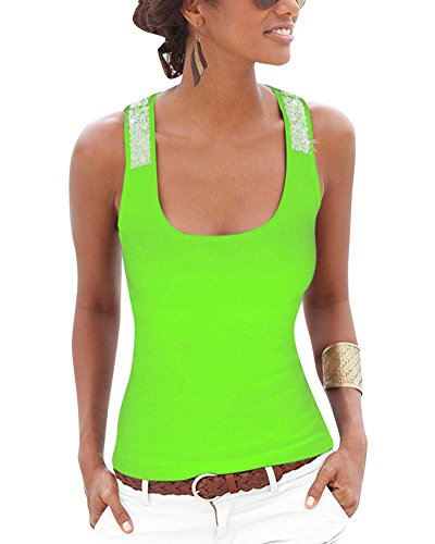Camisetas De Tirantes Mujer Sin Mangas Clásico Para Mujer Lentejuela Correa Tops Verde