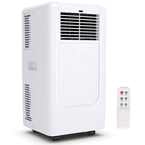 COSTWAY 10000 BTU Portable Air Conditioner with Remote Control, Energy Efficient for Rooms Up to 400 Sq. Ft, Cooling, Dehumidifying, Fanning, 3 Fan Speed Settings, Clear LED Display,White-Update