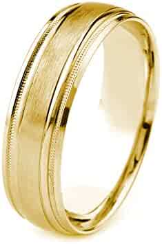 10k Gold Men's Wedding Band with Satin Finish and Carved Milgrain Edges (7mm)