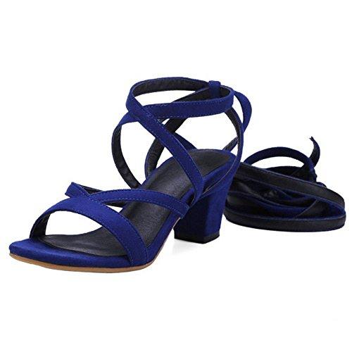 Ancho Moda Lace Medio Sandalias Coolcept Leg Mujer Zapatos Gladiator Strap Tacon Azul q1wRzS