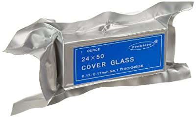 Premiere 94-2450 Glass High Quality Foil Wrapped Vacuum Packed Microscope Cover Slips, 0.13-0.17mm Thickness, 50mm Length, 24mm Width (Pack of 10) from C & A Scientific