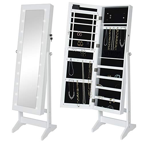 (White Lockable LED Lighted Dressing Mirrored Jewelry Armoire Cabinet Organizer With Stand For Organizing And Storing Your Favorite Rings Necklaces Bracelets In Your Bedroom Or Jewelry Shop Home Decor)