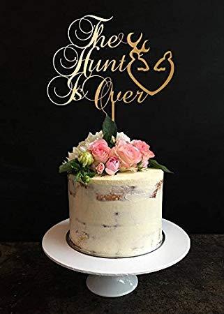 (Hunt is over wedding cake Toppers topper per torta, caccia, fidanzamento cake topper, Anniversary cake)