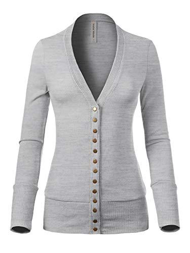 Design by Olivia Women's Soft Basic V-Neck Snap Button Down Knit Cardigan Heather Grey 3X ()