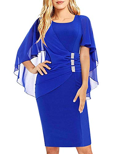 AUTCY Dresses for Office,Women Formal Ruffled Office Wear to Work Business Pencil Party Dresses Chiffon Trumpet Sleeves Dress Royal Blue ()