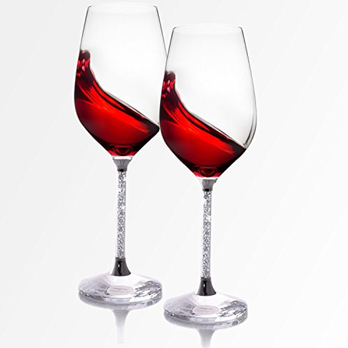 Wine Glasses Set of 2 - Unbreakable Stemless Glass with Crystal Diamonds Stem for Red & White Wines - 16 Ounce - Lead Free (Clear)