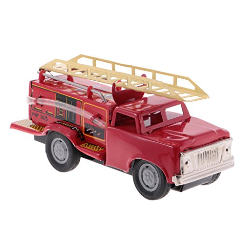 (Jili Online Inertia Friction Powered Fire Truck Model Tin Toy Metal Crafts Desk Decor)