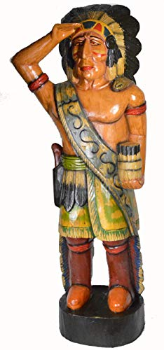 - WorldBazzar New Huge Authentic Vintage Design Cigar Indian 'ON The Look Out Hand Crafted Wooden Sculpture Cowboys Horseshoes Shotgun Old west Hunting