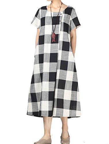(Mordenmiss Women's New Classic Plaid Linen Summer Shirt Dress with Pockets (2XL)