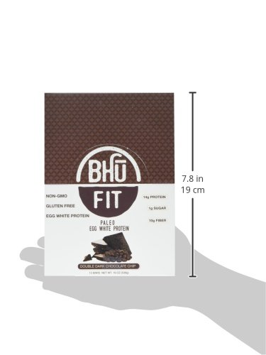 BHU Foods Fit Paleo Bar, Double Dark Chocolate Chip, 12 Count
