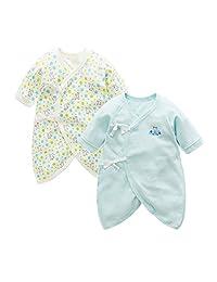 Fairy Baby Newborn 2 Pack Japanese Kimono Gown Cotton Floral Romper Pajamas