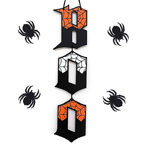 UNIQOOO Halloween Boo Wall Sign Hanging Decorations Black Orange Wood Letter Door Sign with Spooky Spider Web Print…