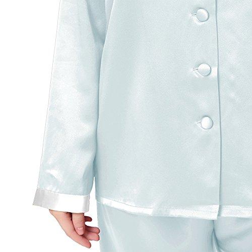 Lilysilk Conjunto de Pijama de Seda Oro Bocamanga Celeste Claro