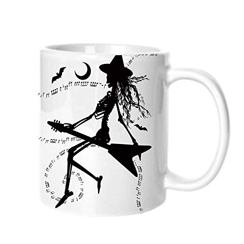 Music Fashion Coffee Cup,Witch Flying on Electric Guitar Notes Bat Magical Halloween Artistic Illustration For office,One size]()