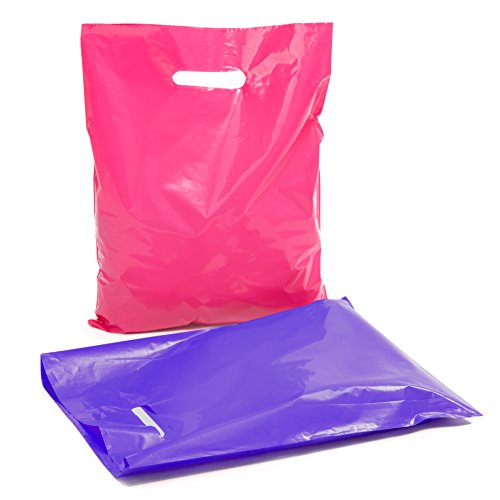 Plastic Reusable Retail Shopping Bags: 12x15 Flat, Glossy and Lightweight Pink and Purple Merchandise Bag Pack with Handles for Fashion Boutique, Salon, Jewelry or Clothing Store - 100 Bulk Set ()