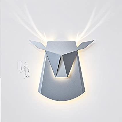 Amazon popup lighting elegant aluminium wall led light deer popup lighting elegant aluminium wall led light deer head fixture electricity plug in silver mozeypictures Gallery