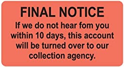 Colortrieve Final Notice Billing Label, 3-1/4\