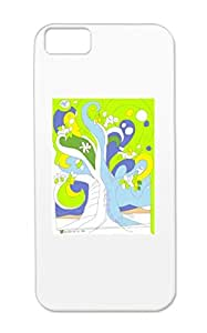 TPU Dustproof White For Iphone 5c Growth Tree Green Expanding Life Painting Drawing Art Design Growtreeblue Protective Case