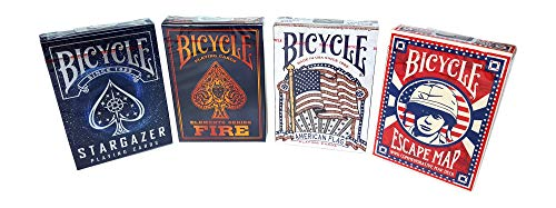 Bicycle Playing Cards Bundle, Stargazer, Fire, American Flag, Escape Map (4 Decks)