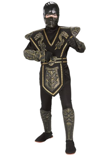Big Boys' Gold Dragon Warrior Ninja Costume - L -