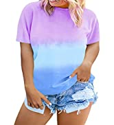 Happy Sailed Womens Plus Size Tie Dye Printed Tops Casual Short Sleeve Round Neck Colorblock Tee ...