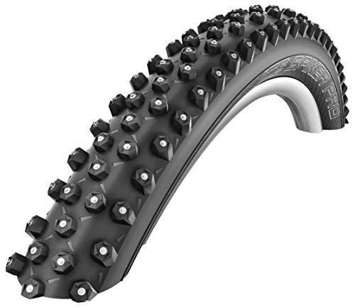 SCHWALBE Ice Spiker Pro 67TPI 35-55PSI Folding Winte Tubeless Ready Snakeskin Bike Tires, 26x2.35, Black