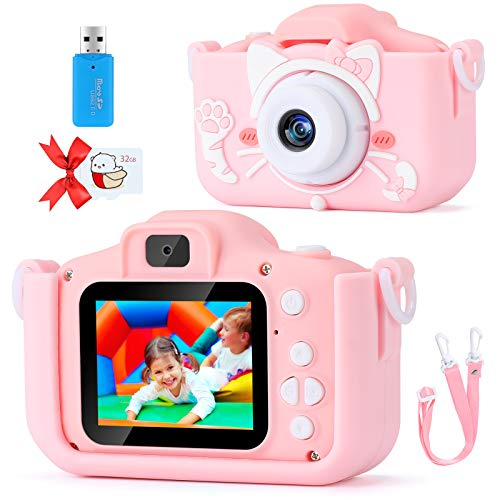 Kids Camera for 3-10 Year Old Boys and Girls, Digital Dual Camera 2In HD Screen 1080P Video Camcorder with Soft Silicone Shockproof Case, Kids Cartoon Selfie Camera for Birthday Gifts with 32G SD Card