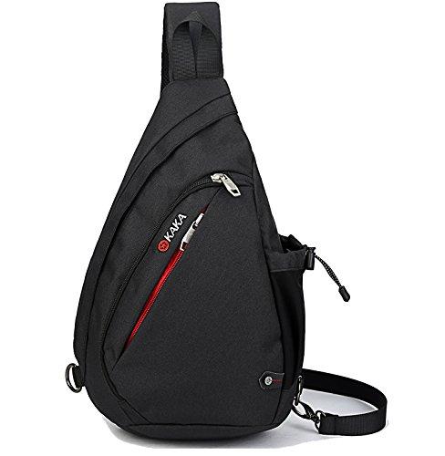 Over Chest (Casual Canvas Backpack Crossbody Travel Sling Bag Shoulder Chest Bag (Black))