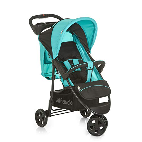 Hauck Citi Neo II - Silla de paseo de 3 ruedas, respaldo reclinable, plegado compacto, plegado con solo una mano, nacimiento hasta 25 kg, ultra ligero, solo 7,5 kg, bandeja con botellero, negro/azul a buen precio