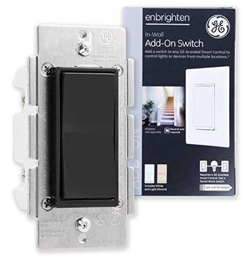 - GE Add Z-Wave, ZigBee Bluetooth Wireless Smart Lighting Controls, NOT A STANDALONE Switch, Black Paddle, 35545, Compatible with Alexa, White & Light Almond